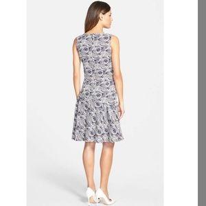 Pink Tartan Dresses - Pink Tartan Jacquard Swirl Navy & White Dress NEW